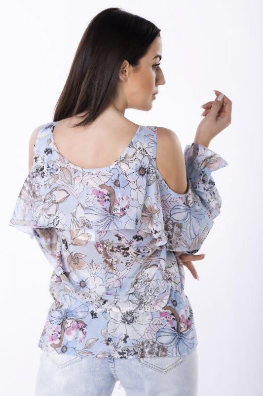 szyfonowa bluzka z rozcięciami na ramionach