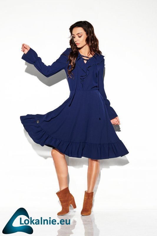 Sukienka ze sznurowanym dekoltem kolor  L313
