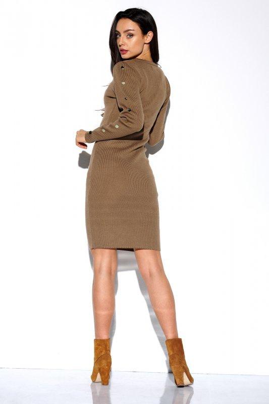 Sukienka swetrowa z guzikami na rękawach LS270