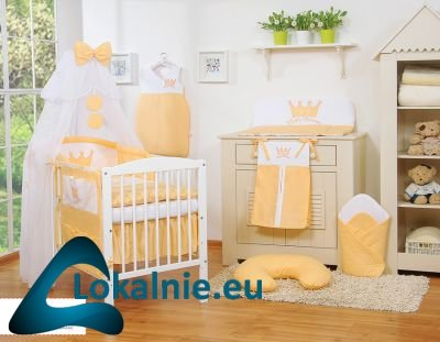 Pościel 11-cz z moskitierą- Little Prince/Princess brzoskwiniowa