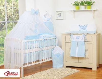 Pościel 11-cz z moskitierą- Little Prince/Princess niebieska