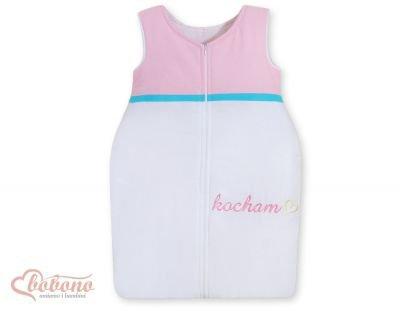 Śpiworek niemowlęcy- Kocham różowo-turkusowe haft (PL)