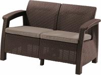 Meble ogrodowe sofa 2-osobowa CORFU brąz/c.beż