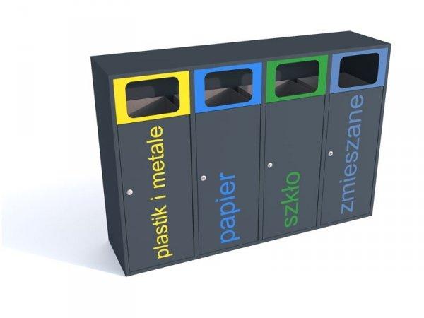 Stacja do segregacji śmieci 4 strumienie po 80 litrów