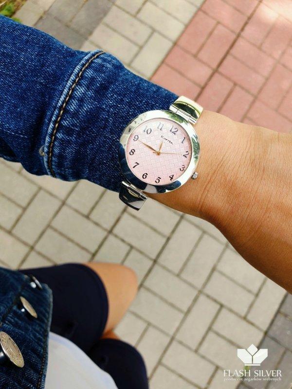 różowa tarcza srebrny zegarek