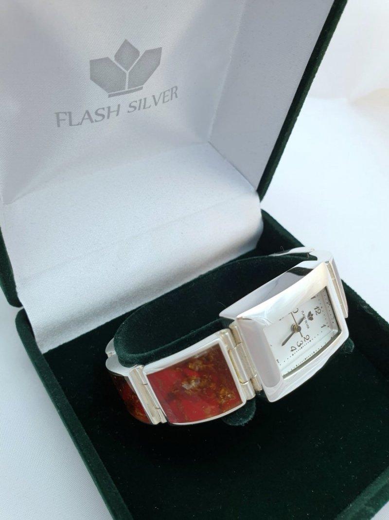 zegarek ze srebra z bursztynem naturalnym na prezent, bursztyn naturalny w zegarko ze srebra