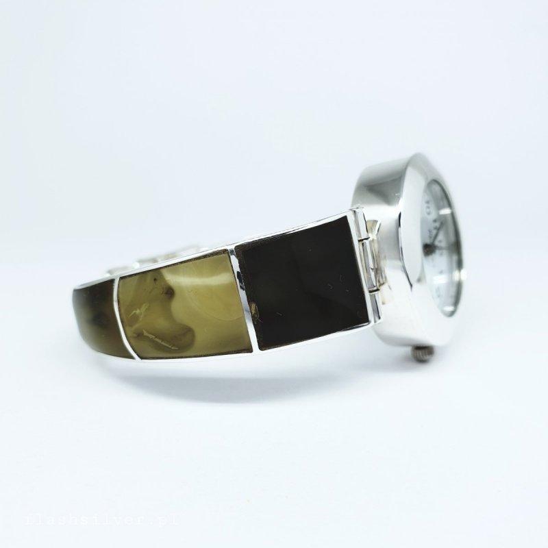 zegarek ze srebra z bursztynem