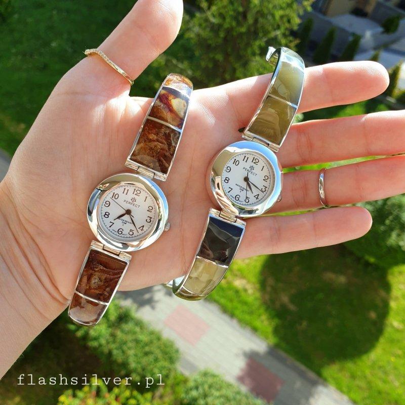 Zegarek ze srebra 925 z naturalnym bursztynem bałtyckim kolor koniakowy
