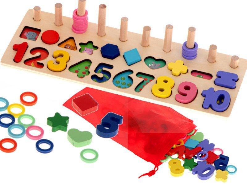 Liczydło drewniane sorter cyfry Montessori 3w1 13x36cm