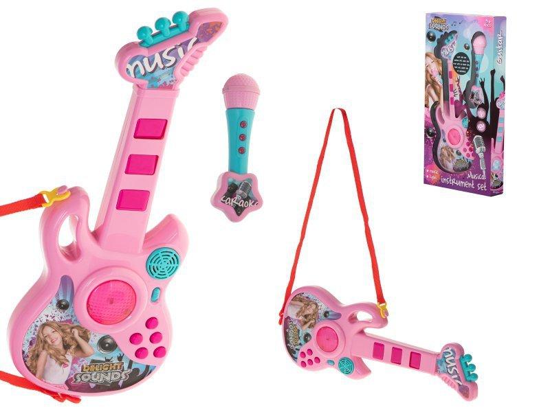 Gitara elektryczna z mikrofonem różowa