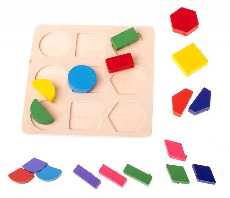 Zabawka edukacyjna drewniana dopasuj kształty 18el