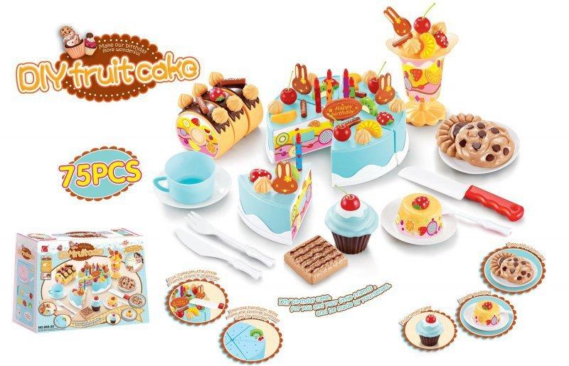 Tort Urodzinowy do Krojenia Kuchnia 75 el. niebieski