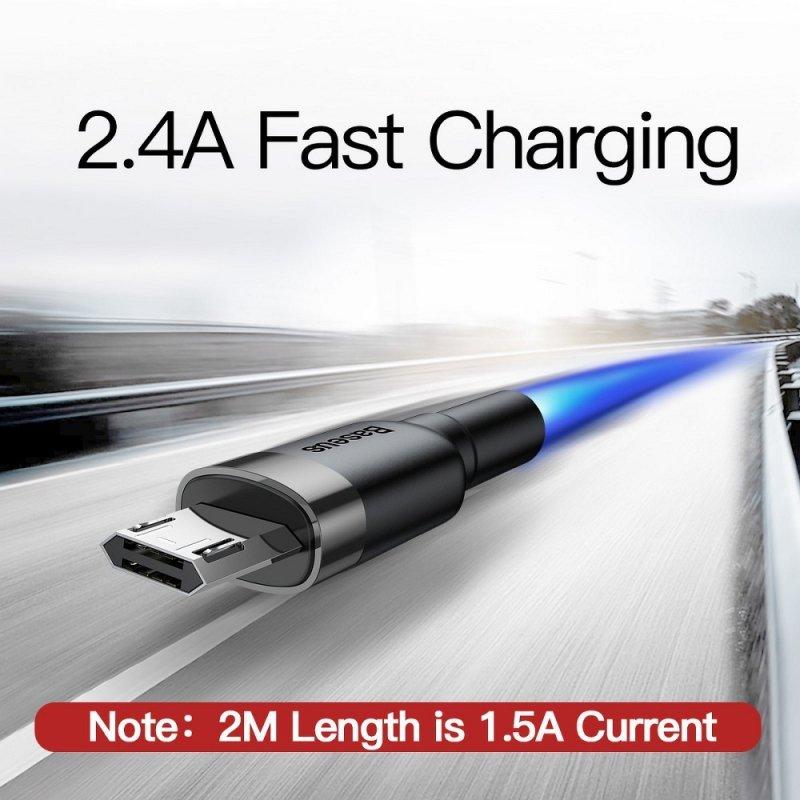 BASEUS kabel USB Cafule Micro 2,4A 1 metr szaro-czarny CAMKLF-B91