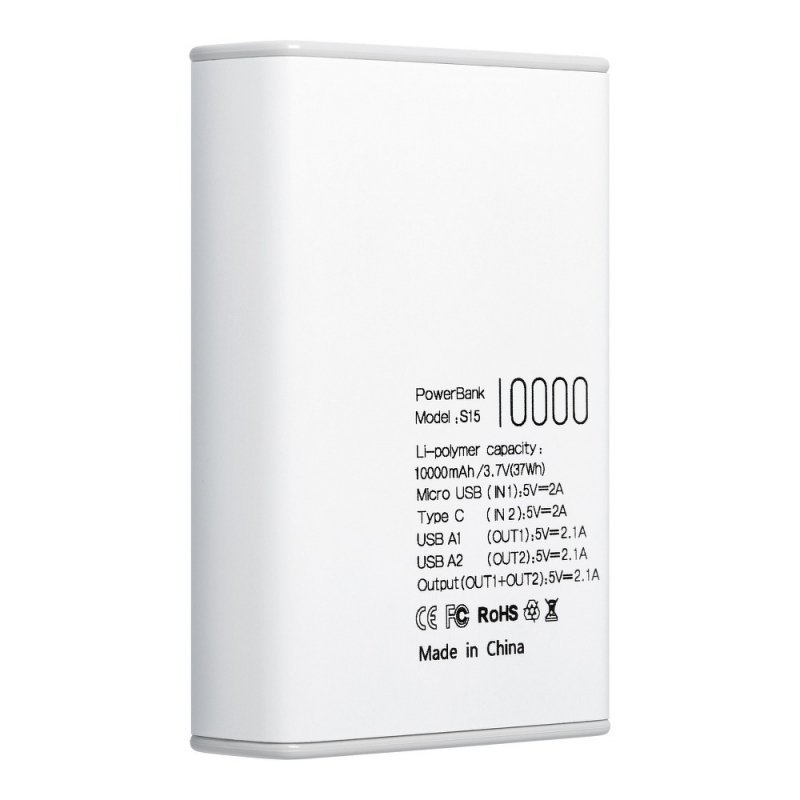 Bateria zewnętrzna (POWER BANK) PURIDEA S15 10 000 mAh biały