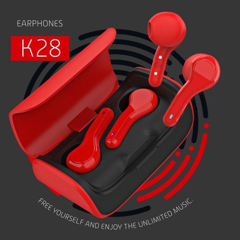 Słuchawki Bluetooth Stereo TWS K28 + stacja dokująca czerwony