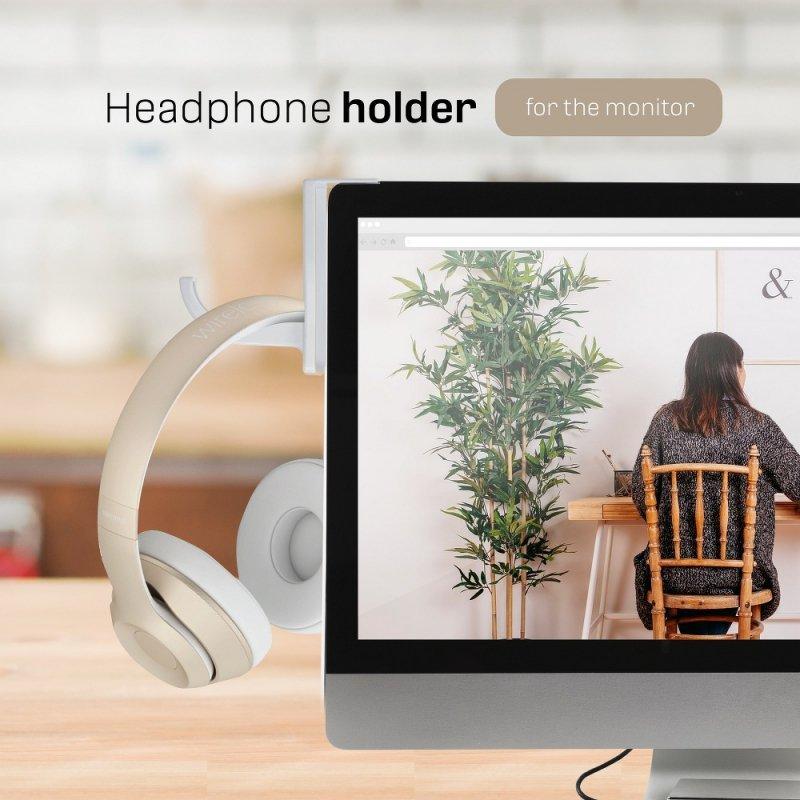Uchwyt na słuchawki do monitora biały