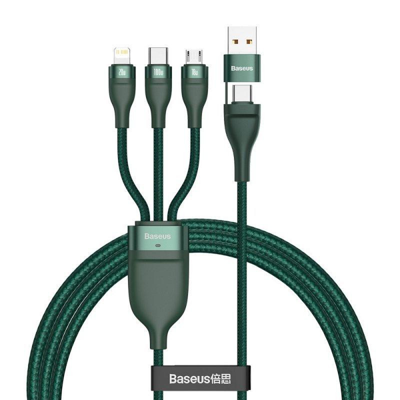 BASEUS kabel USB / Typ C 4w1 Typ C to Micro + Lightning 8-pin + Typ C 100W PD Qi zielony CA2T3-06