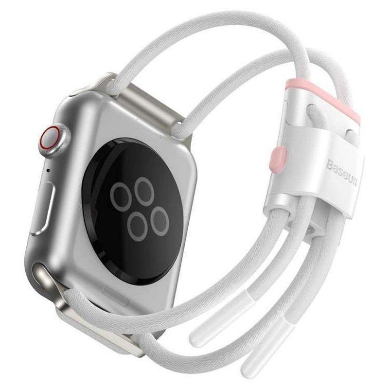 BASEUS pasek do Apple Watch 38mm / 40mm Let`s Go biało-różowy LBAPWA4-A24
