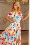 194-1 Długa suknia z hiszpańskim dekoltem - kolorowe malowane kwiaty