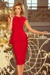 192-5 Elegancka sukienka MIDI z baskinką - CZERWONA
