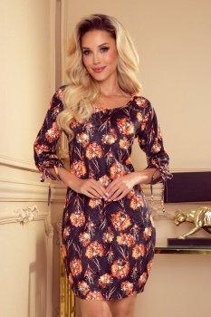 281-6 SOPHIE Wygodna sukienka Oversize - POMARAŃCZOWE KWIATY