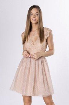 koronkowa sukienka z dekoltem V