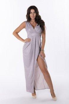 brokatowa sukienka z kopertową zakładką