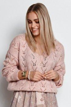 Ażurowy sweter damski wkładany przez głowę brudny róż S113