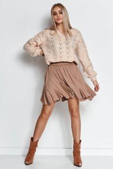 Rozkloszowana dzianinowa spódnica mini cappuccino M660