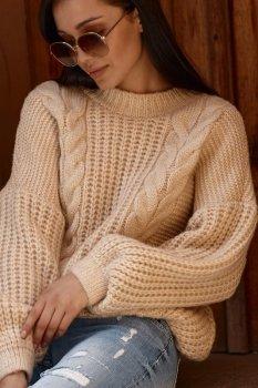 Sweter damski wkładany przez głowę jasny beż NU_S84