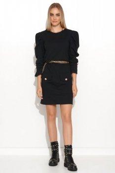 Sukienka mini z bufiastymi rękawami czarna M687