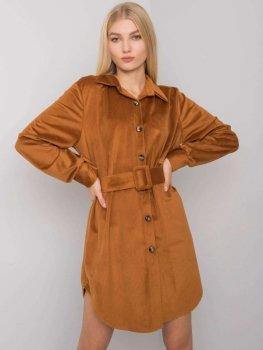 Sukienka-DHJ-SK-10333.12P-jasny brązowy