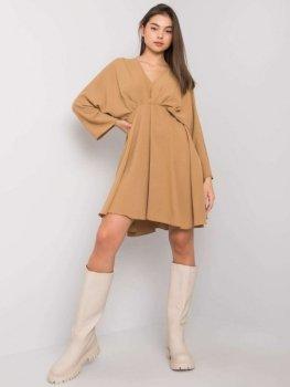 Sukienka-DHJ-SK-11981B.19-ciemny bezowy