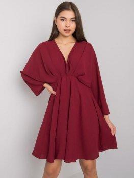 Sukienka-DHJ-SK-11981B.19-ciemny bordowy