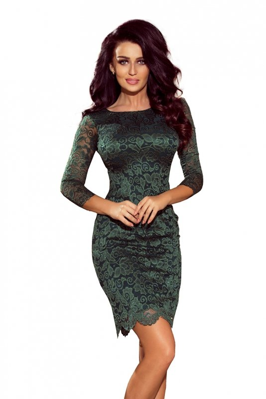 180-3 Sukienka koronkowa z ozdobnymi wykończeniami - ZIELONA jasna