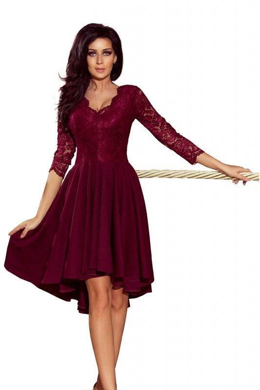 210-1 NICOLLE - sukienka z dłuższym tyłem z koronkowym dekoltem - BORDOWA