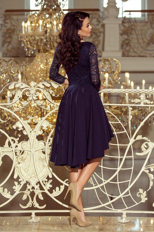 210-2 NICOLLE - sukienka z dłuższym tyłem z koronkowym dekoltem - GRANATOWA