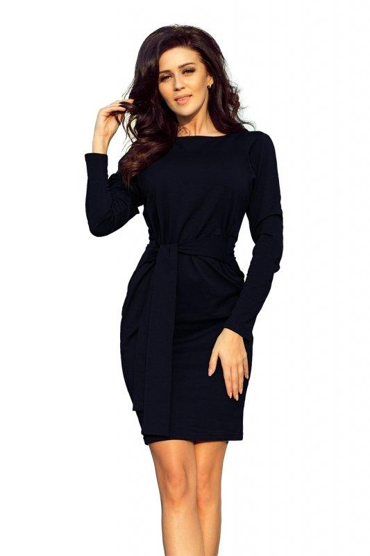 209-4 Sukienka z szerokim wiązanym PASKIEM - GRANATOWA