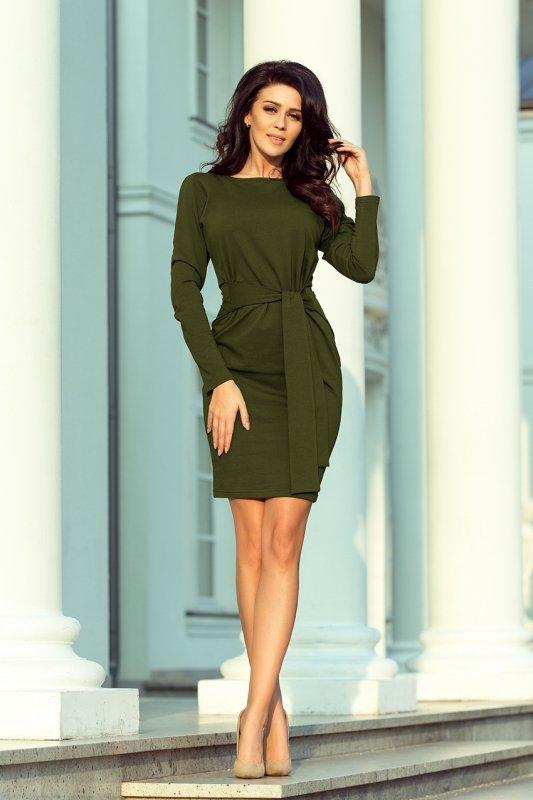 209-5 Sukienka z szerokim wiązanym PASKIEM - KHAKI