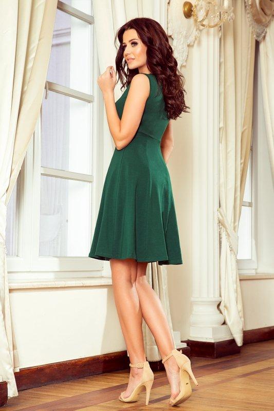 238-2 BETTY rozkloszowana sukienka z dekoltem - ZIELEŃ BUTELKOWA
