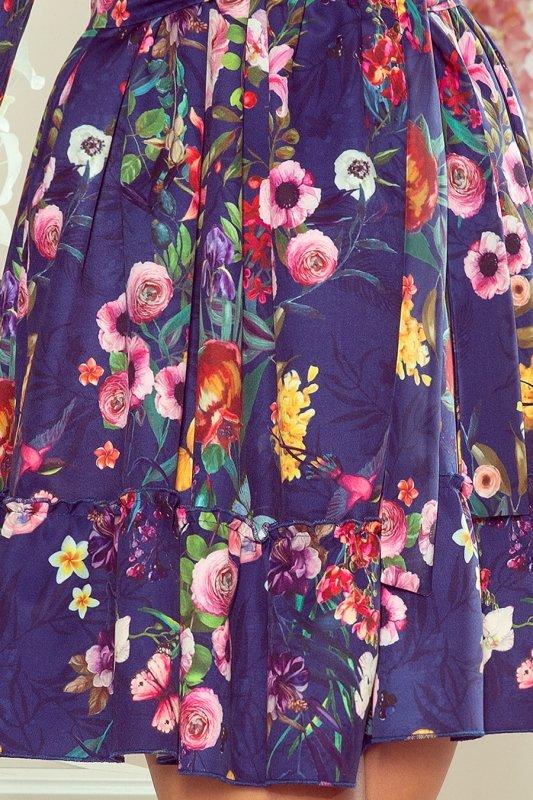 265-2 DAISY Sukienka z falbankami - KWIATY na granatowym tle