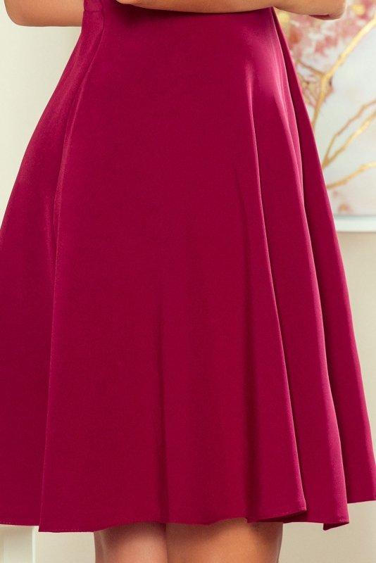 274-1 ANITA Sukienka z falbanką - BORDOWA