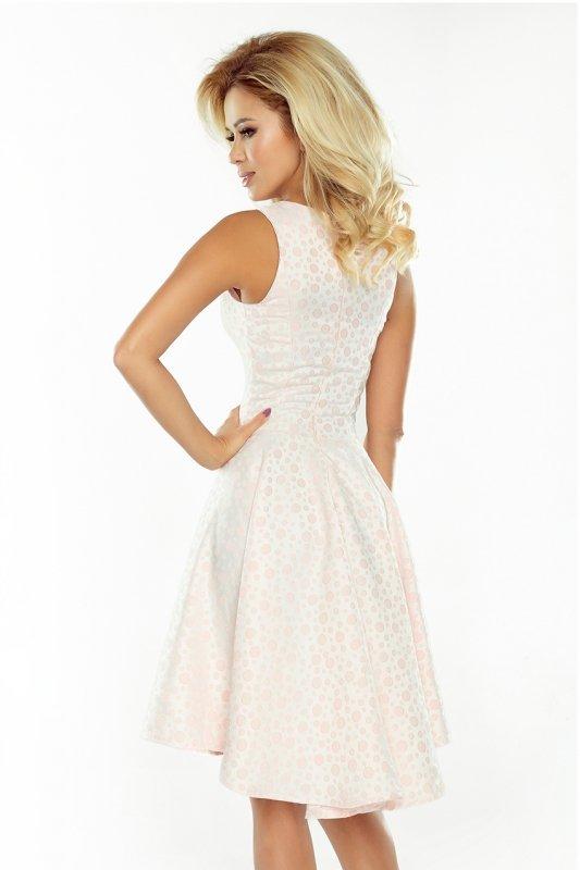 175-1 Wyjątkowa sukienka z dłuższym tyłem - żakard kółeczka PASTELOWY RÓŻ