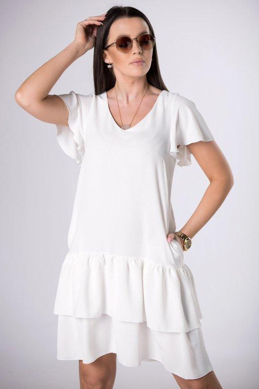 sukienka mini z falbanami