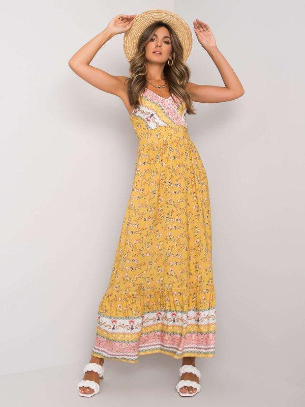 Sukienka-DHJ-SK-13580.30-żółty