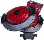 Tylne klocki BREMBO + WIERCONE wentylowane tarcze hamulcowe RED Dodge Durango 2011-