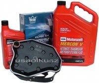 Filtr oleju oraz syntetyczny olej Motorcraft MERCON V automatycznej skrzyni biegów Mercury Grand Marquis