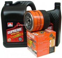 Filtr oleju FRAM PH16 oraz olej SUPREME 10W30 Plymouth Voyager