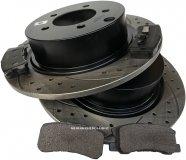 Tylne klocki + WIERCONE tarcze hamulcowe 303mm BLACK Dodge Avenger 2008-