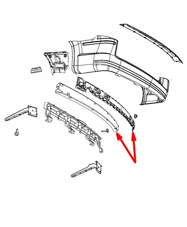 Belka z absorberem tylnego zderzaka Dodge Caravan 2008-